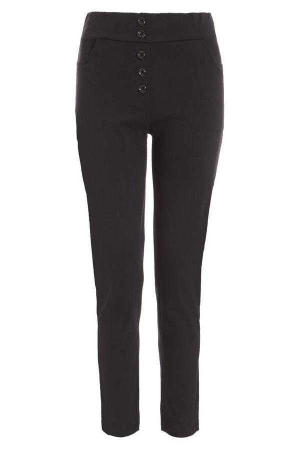 Black Button Detail Trousers