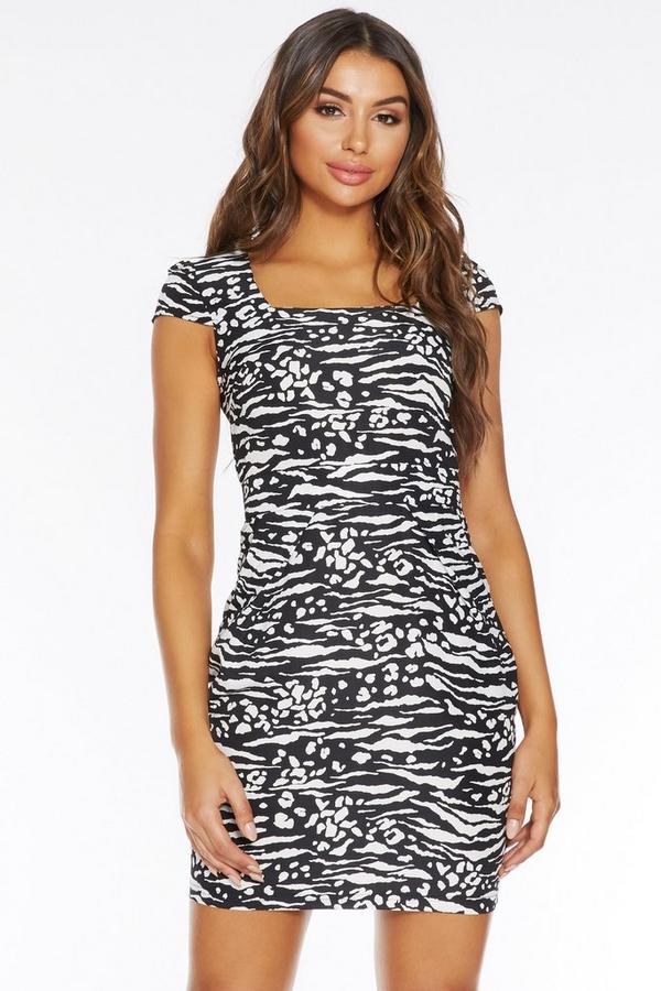 Black And White Zebra Bodycon Dress