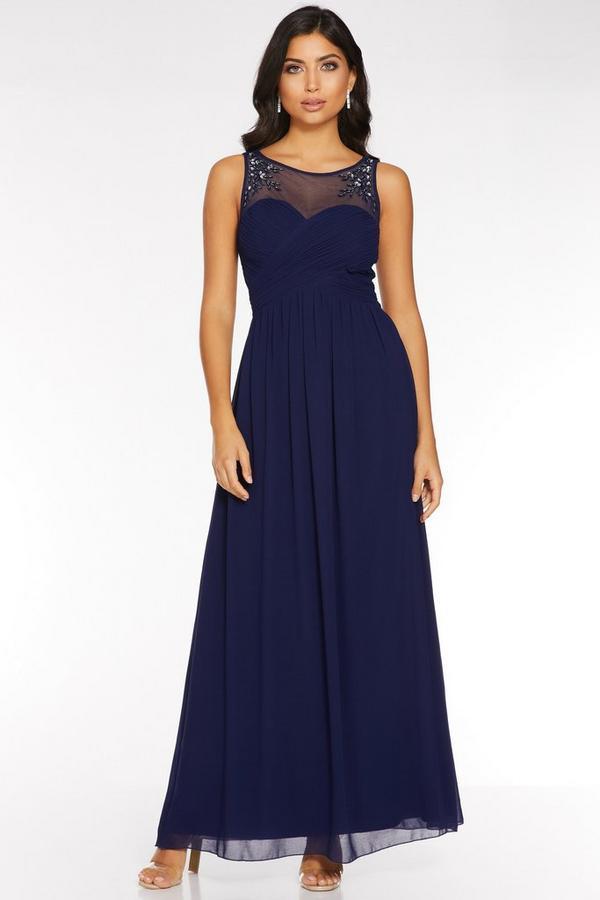 Navy Chiffon Sweetheart Embellished Maxi Dress