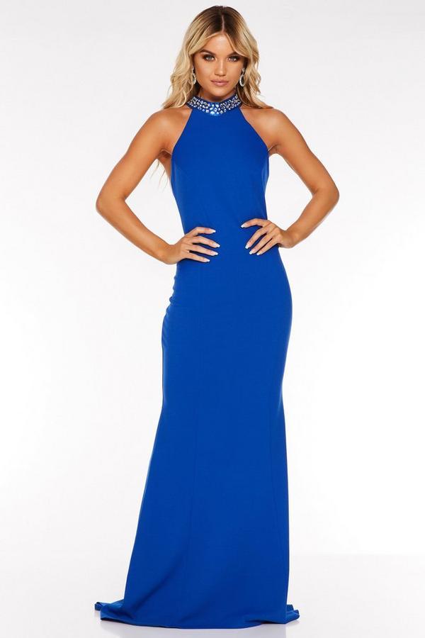Royal Blue Embellished Strap Back Maxi Dress