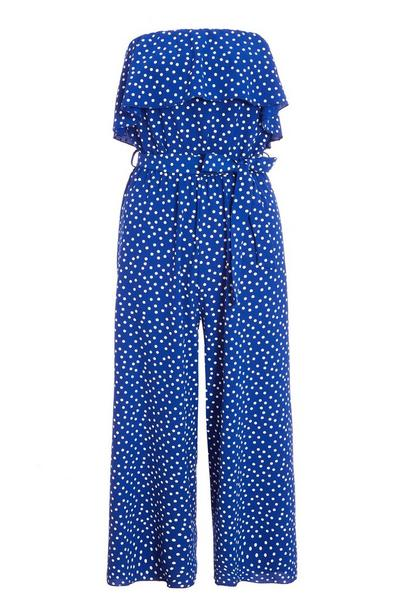 Royal Blue and White Polka Dot Culotte Jumpsuit