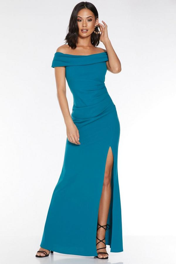 Teal Bardot Ruched Split Maxi Dress