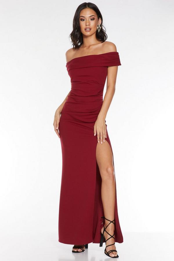 Berry Bardot Ruched Split Maxi Dress