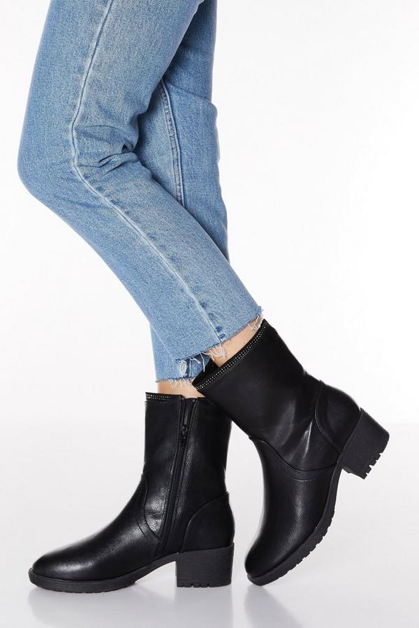 Black Faux Leather Diamante Rim Heeled Ankle Boots