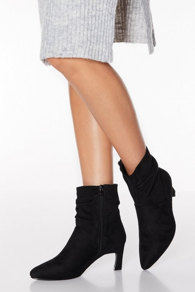 Black Faux Suede Ruched Point Toe Boots