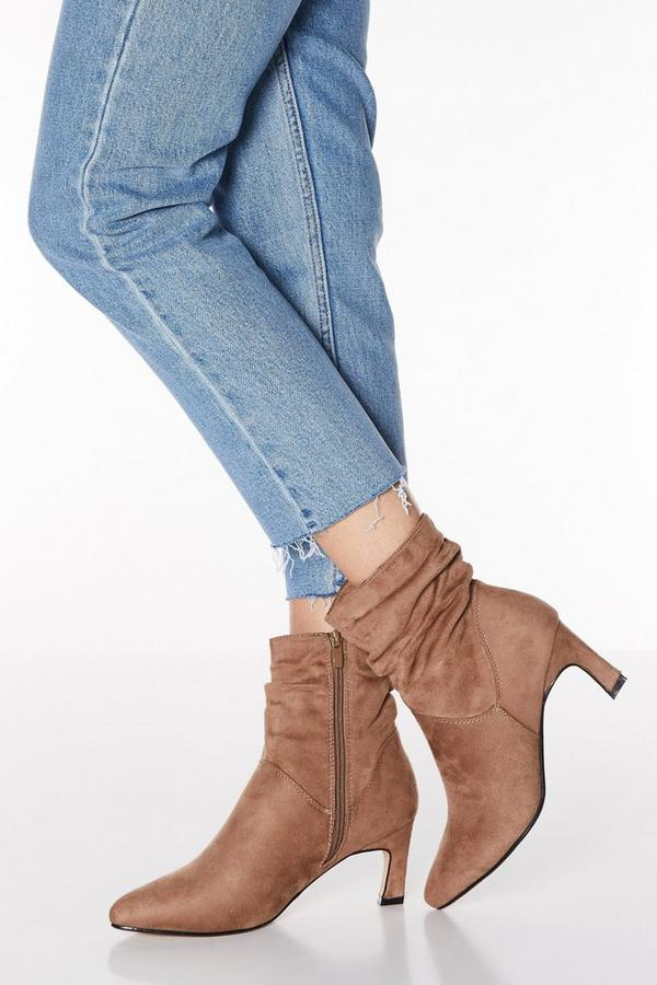 Taupe Faux Suede Ruched Point Toe Boots
