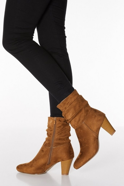 Tan Faux Suede Ruched Heeled Ankle Boots
