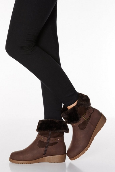 Brown Faux Leather Stud Strap Wedge Boots