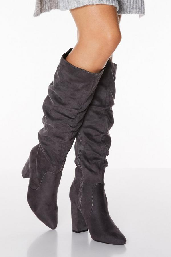 Grey Faux Suede Ruched Knee High Boots