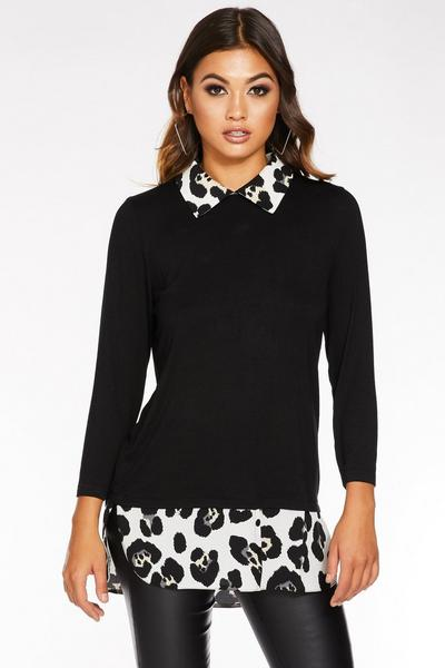 Black And White Leopard Print Shirt Knit Top