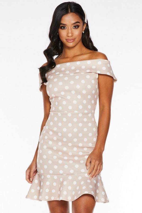 Petite Stone Polka Dot Bardot Bodycon Dress