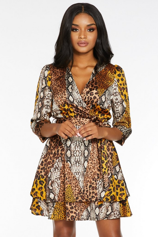 Petite Animal Print Wrap Dress