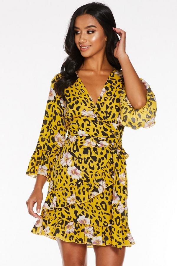 Petite Yellow Leopard Floral Wrap Dress