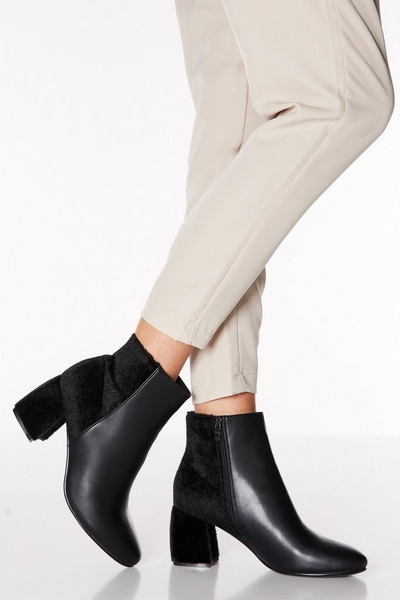 Black Faux Leather Heel Ankle Boots
