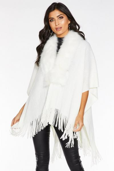 White Faux Fur Trim Knit Cape