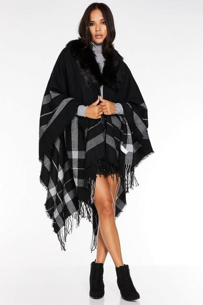 Black Faux Fur Trim Check Knit Cape