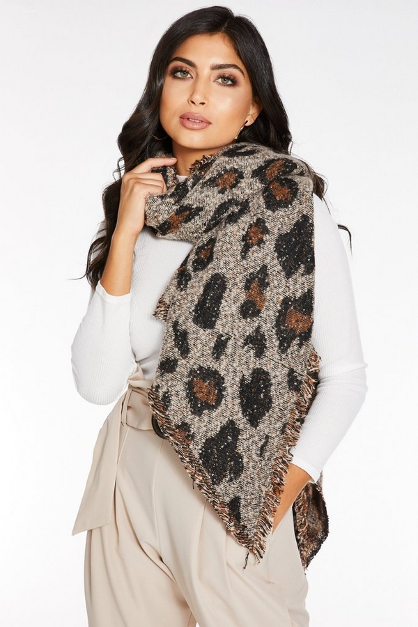 Brown Leopard Print Sequin Knit Scarf