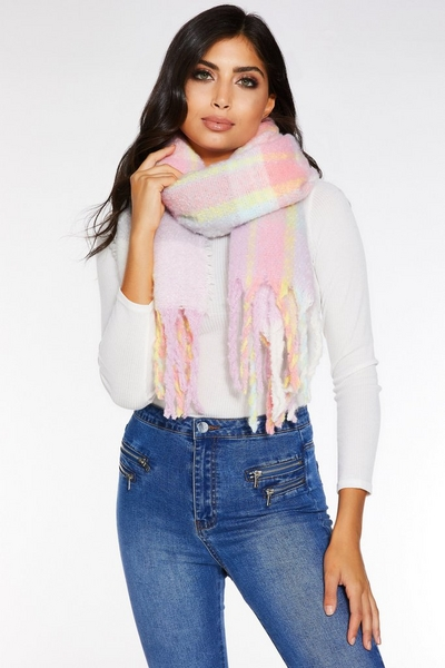 Multicoloured Check Blanket Scarf