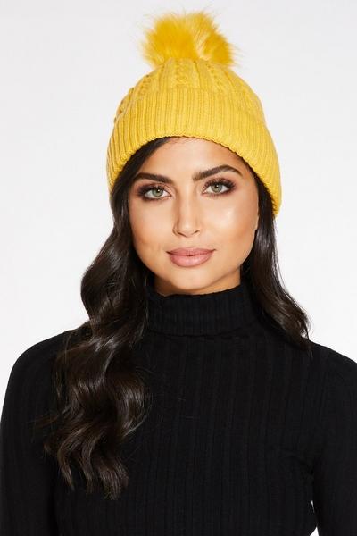 Mustard Pom Knit Hat