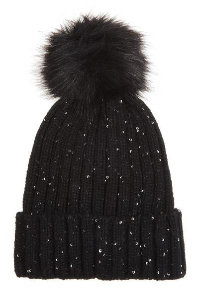 Black Sequin Pom Knit Hat