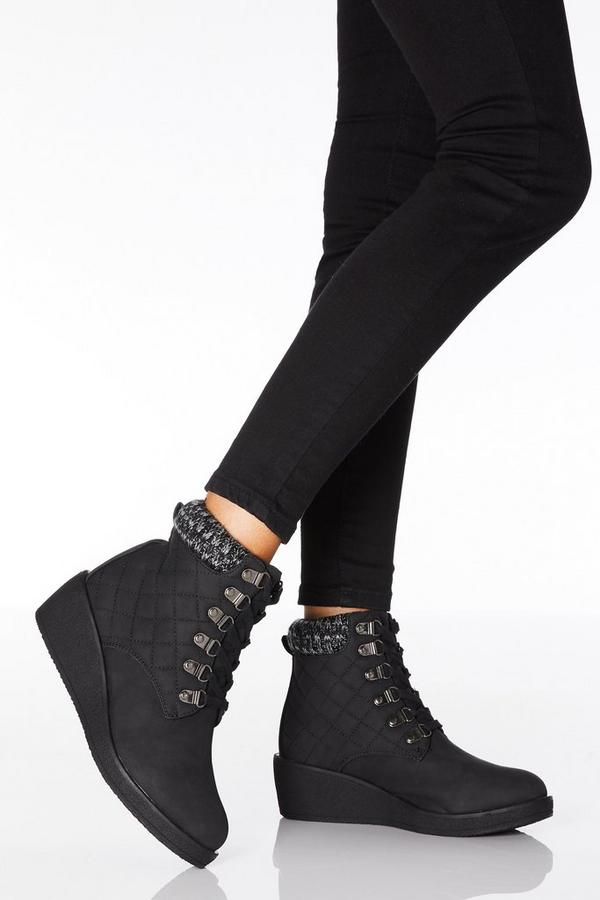 Black Quilted Lace Up Wedge Ankle Boots