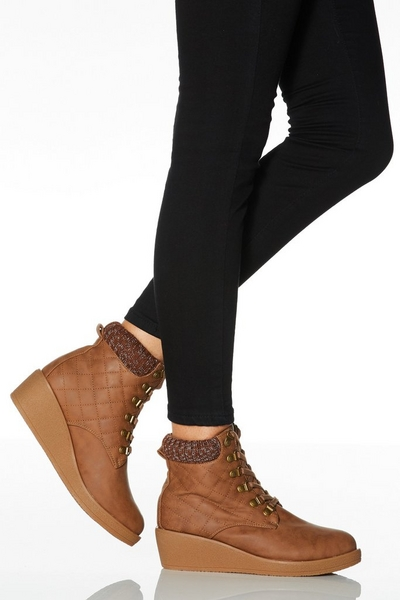 Tan Quilted Lace Up Wedge Ankle Boots