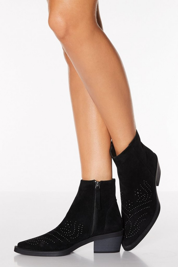 Black Faux Suede Western Ankle Boots