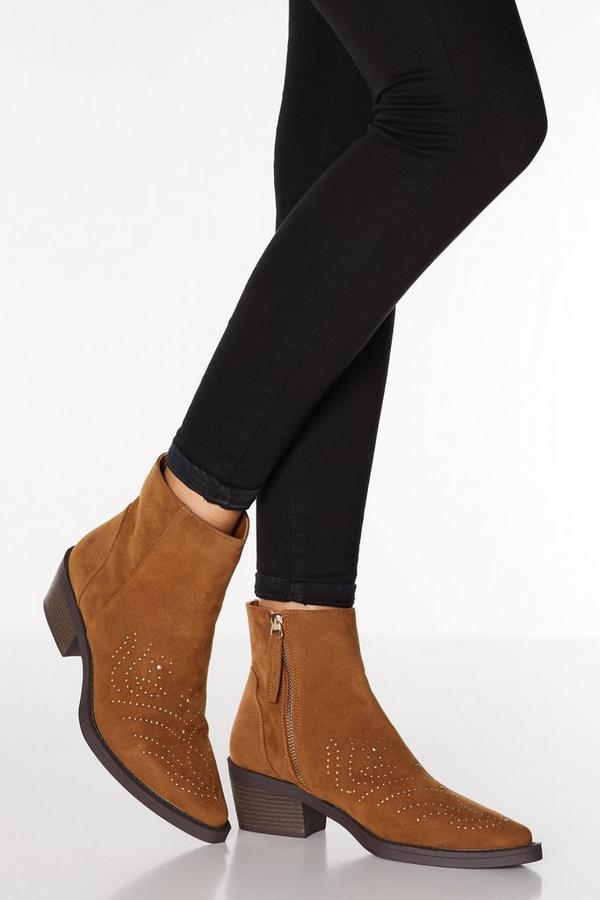 Tan Faux Suede Western Ankle Boots