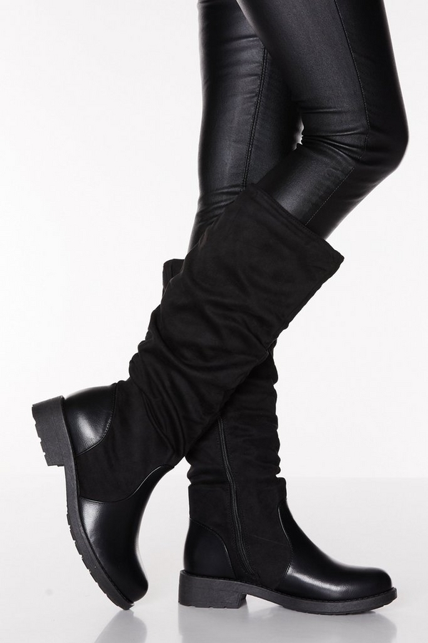 Black Faux Suede Ruched Knee High Boots