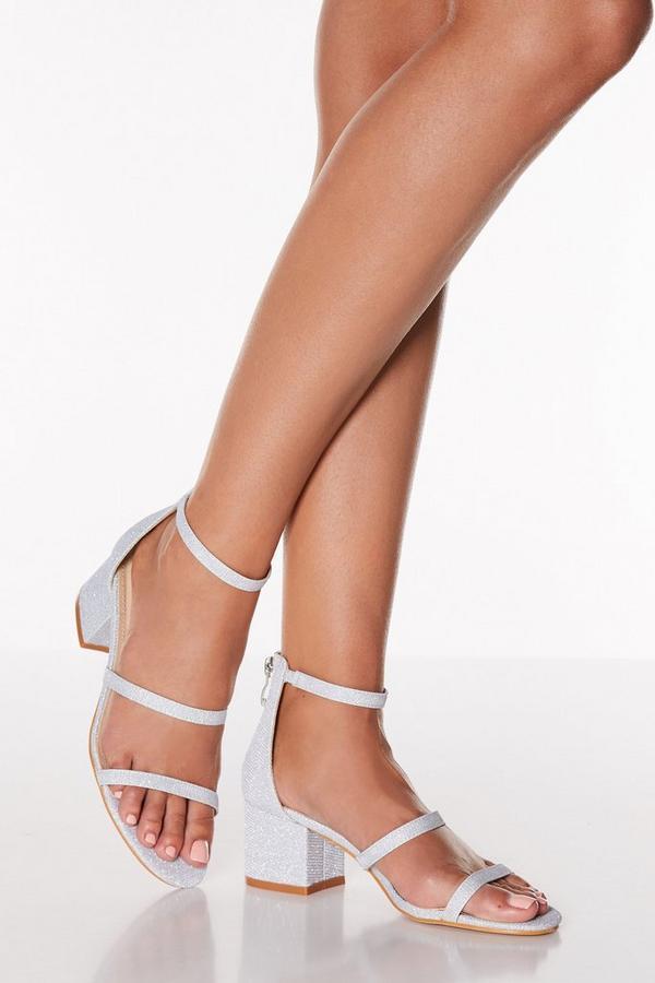 Silver Shimmer Triple Strap Low Heel Sandals