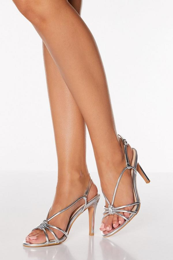 Silver Knot Detail Strappy Heeled Sandals
