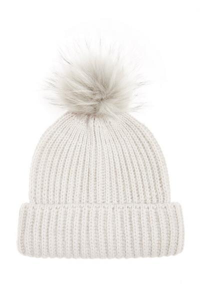 Grey Pom Knit Hat