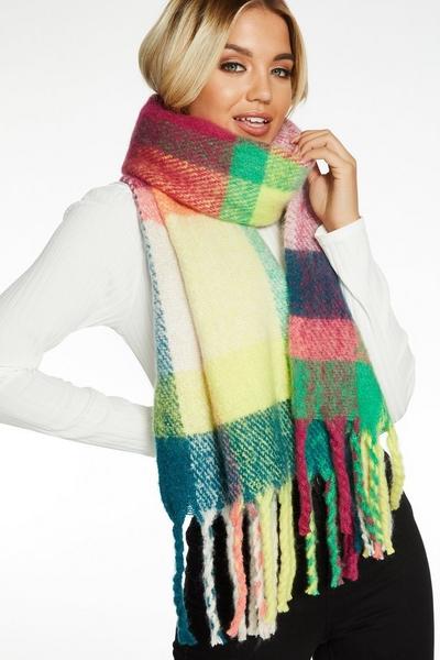 Multicoloured Check Knit Scarf