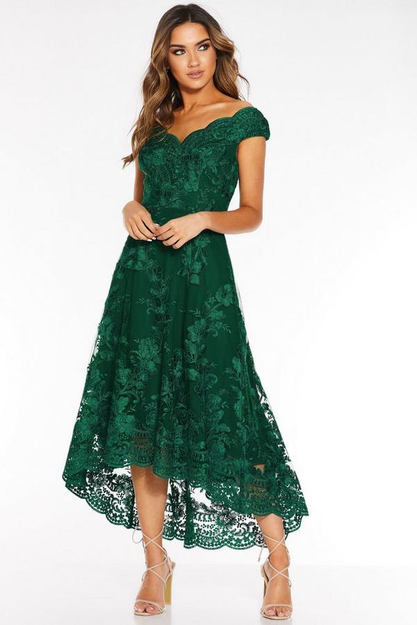Bottle Green Embroidered Bardot Dip Hem Dress