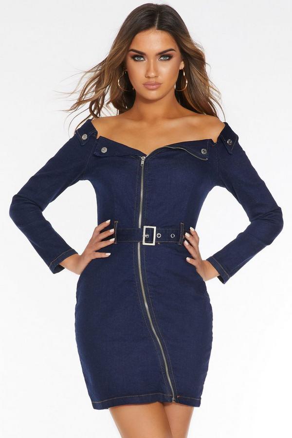 Blue Denim Bardot Zip Front Dress