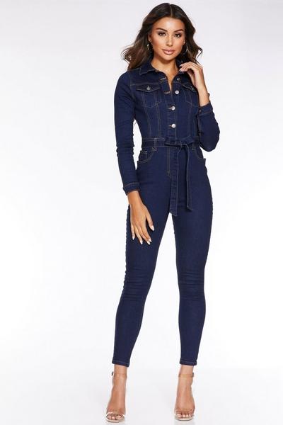 Mid Blue Denim Long Sleeve Belted Jumpsuit