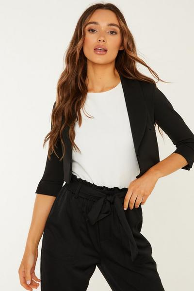 Black Shawl Collar Crop Jacket