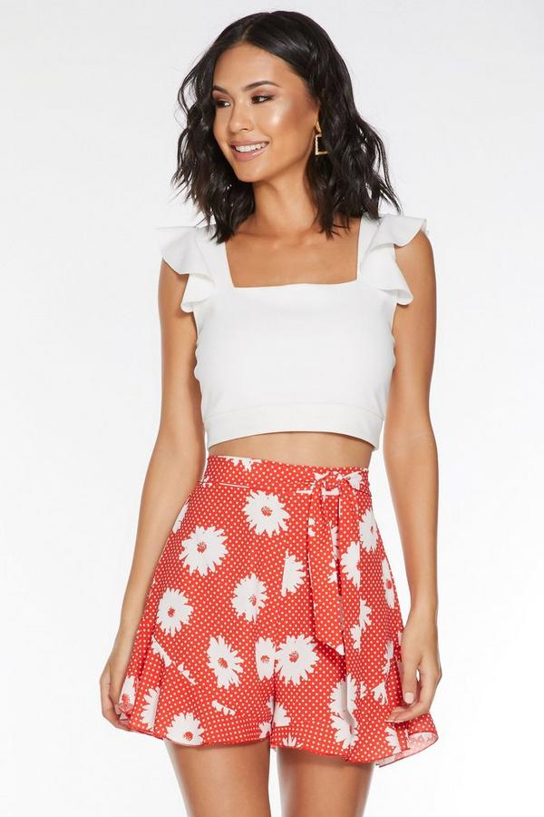 Red And White Polka Dot Floral Print Tie Belt Short