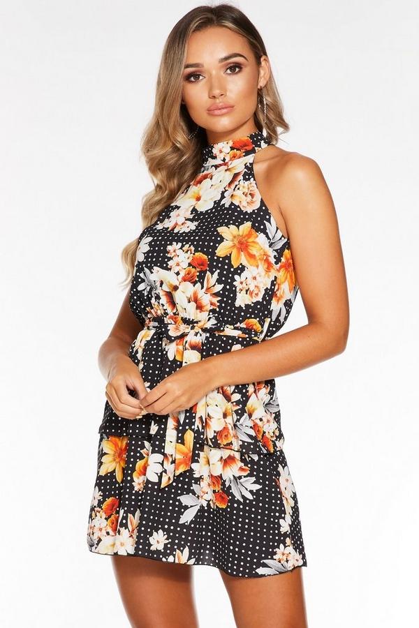 Black Polka Dot And Floral Halterneck Dress