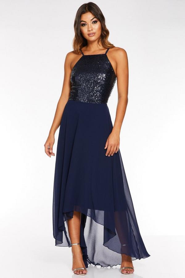 Navy Sequin Chiffon Square Neck Dip Hem Dress