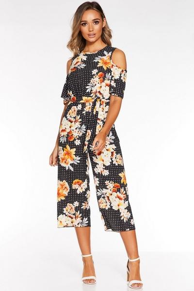 Black and White Polka Dot Floral  Jumpsuit
