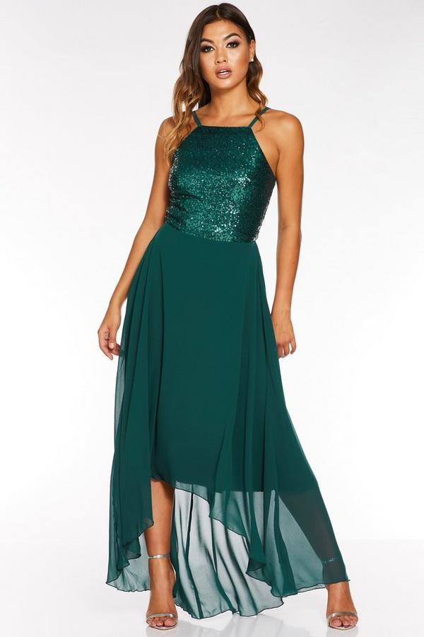 Green Sequin Chiffon Square Neck Dip Hem Dress