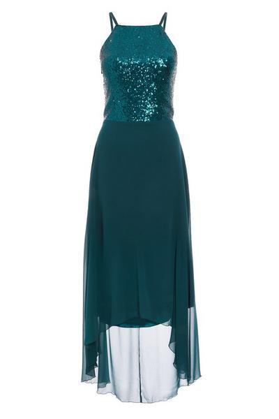 Green Sequin Chiffon Square Neck Dip Hem Dress