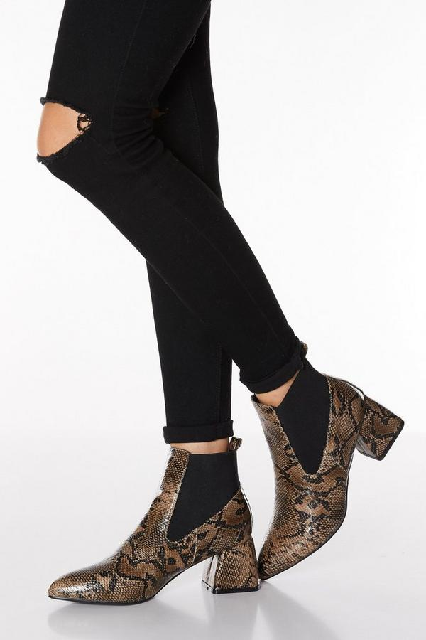 Brown Snake Print Flare Heeled Ankle Boot