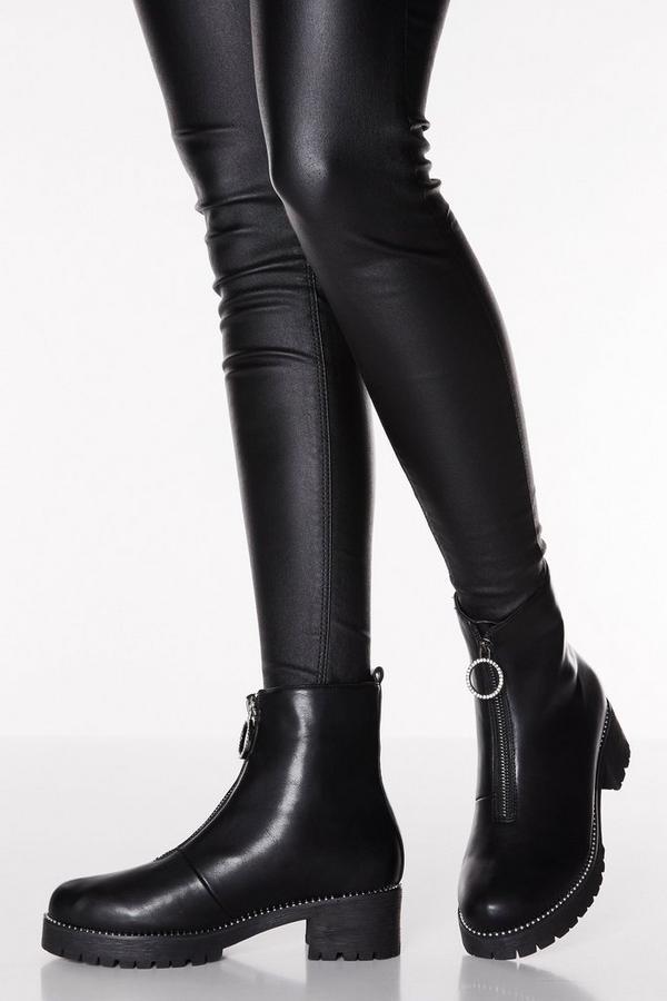 Black Faux Leather Diamante Zip Ankle Boots