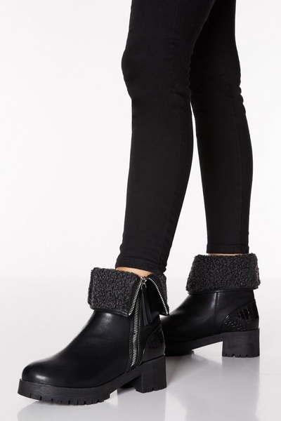 Black Faux Leather Fold Over Calf Boots