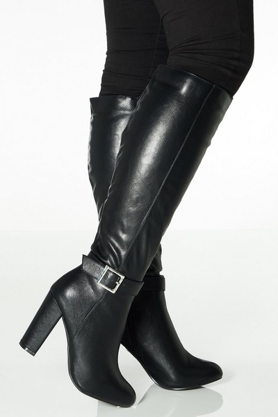 Black Faux Leather Buckle Detail Knee High Boots