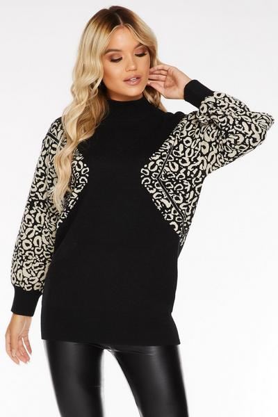 Black Knit Turtle Neck Leopard Print Sleeve Jumper