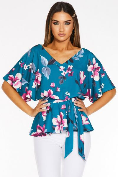 Teal Floral V Neck Batwing Top