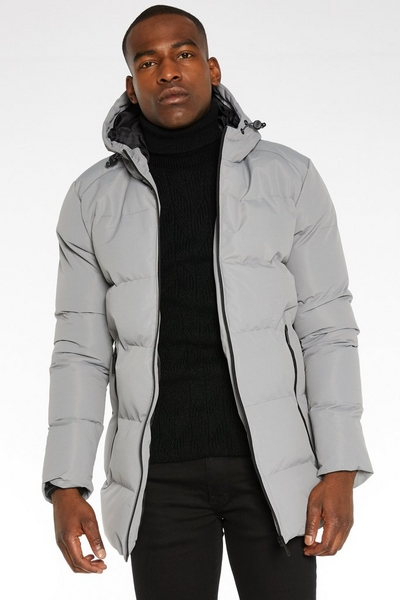 Long Lined Hooded Parka with Matte Finish in Grey